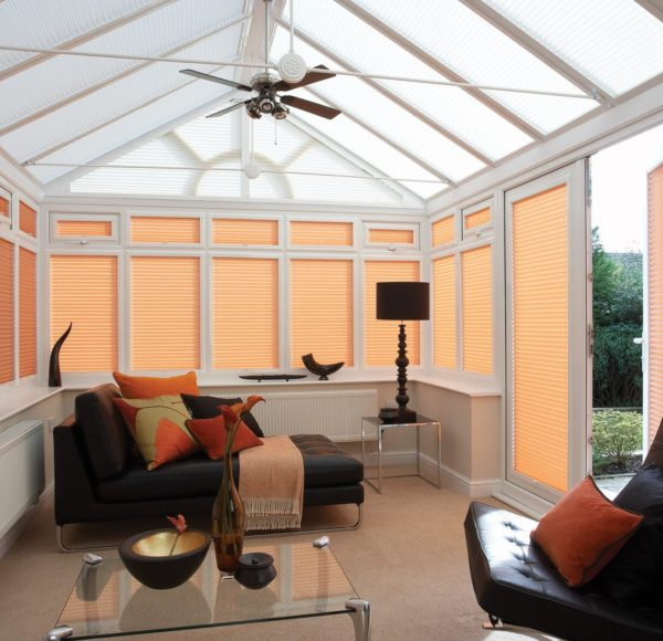 Pleated blinds on conservatory Haddington, Musselburgh, North Berwick