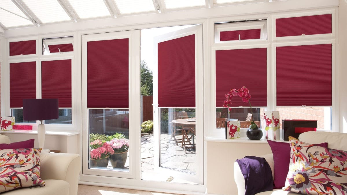 Pleated blinds on conservatory Haddington, Musselburgh, North Berwick