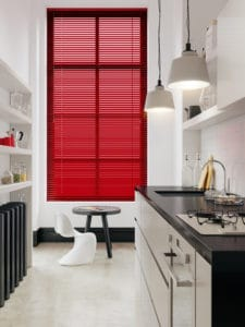 red venetian kitchen blinds