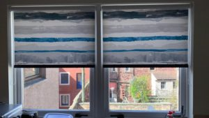 Patterned roller blinds fitted by Forth Blinds