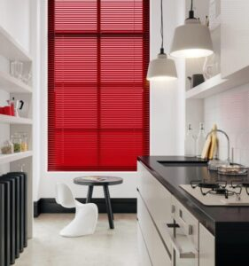 Red venetian blinds