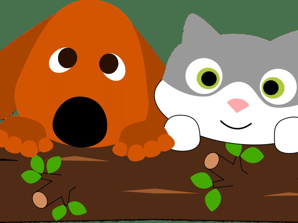 cartoon pets - cat and dog